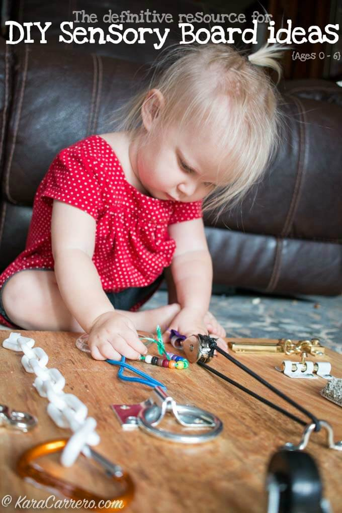 A comprehensive resource guide for creating DIY sensory boards and homemade latch boards including ways to modify them based on age (0-6 years old). What to add, how to mount, and all you need to know to make your own busy board for babies, toddlers, preschoolers, and even school aged children.