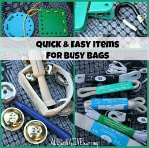 Music busy bags, lacing, stretch, and pincer practice.