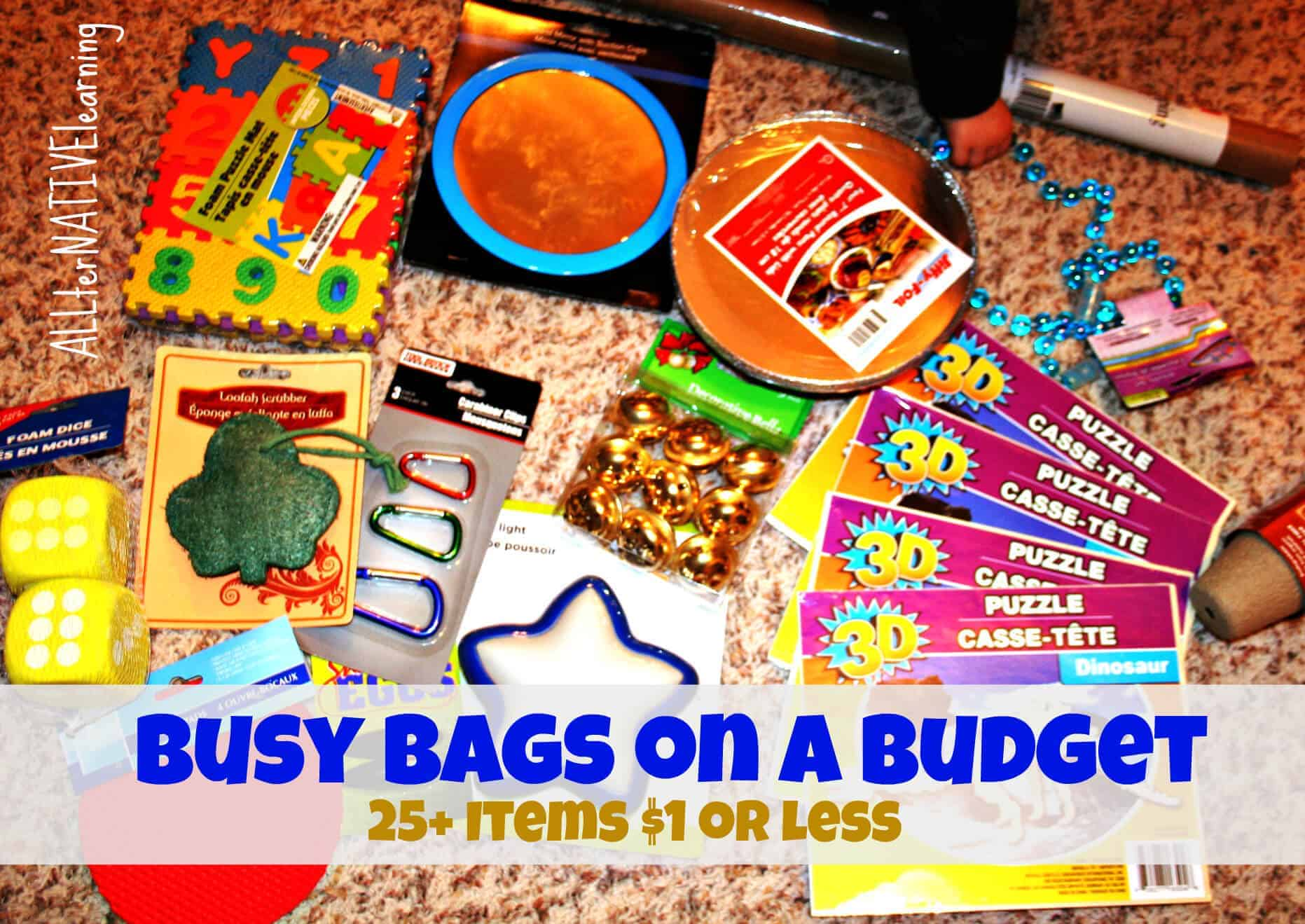 Busy Bag Ideas that are budget friendly.