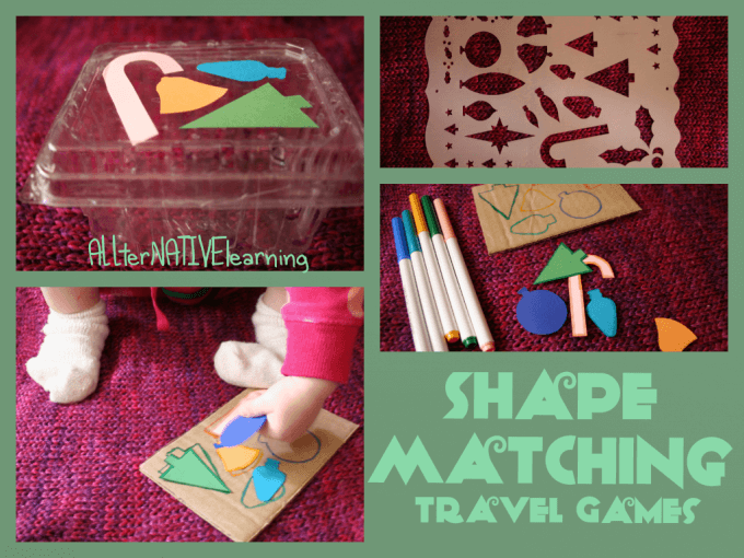 DIY homemade shape sorting for travelling with kids