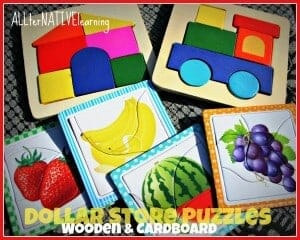 Wooden and cardboard dollar store puzzles