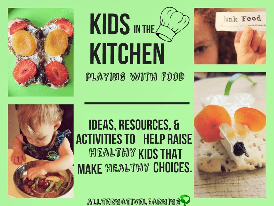 kids in the kitchen playing with food