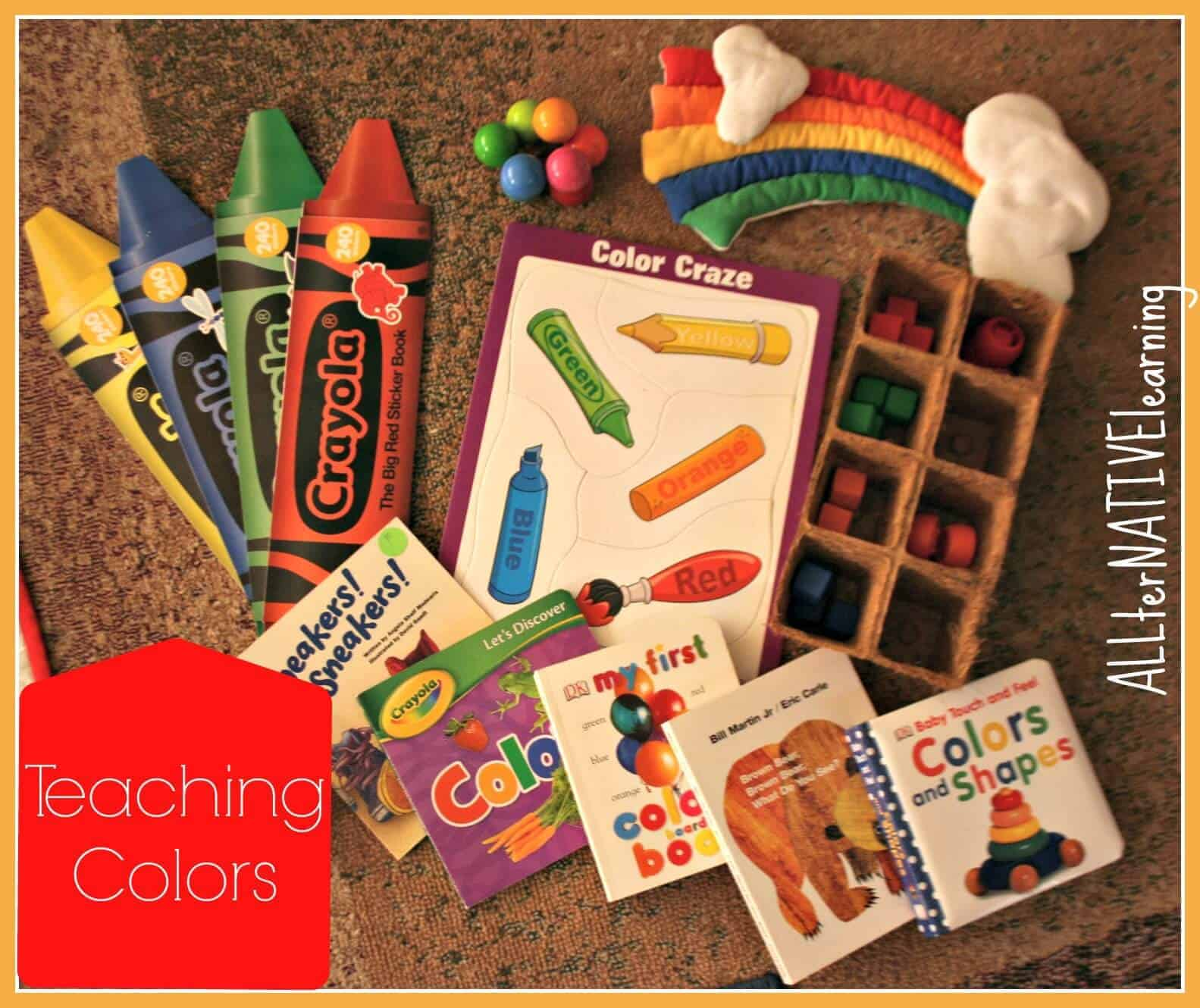 Supplies for teaching colors to toddlers