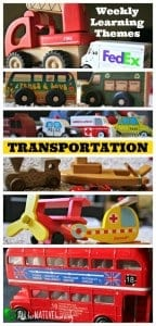 Transportation weekly learning theme collage
