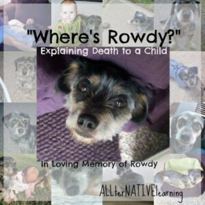 Collage of Rowdy - and Title Explaining Death to a child