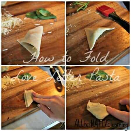 four pictures shoing how to fold the pasta to look like letters