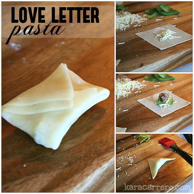 love letters pasta - romantic meal idea