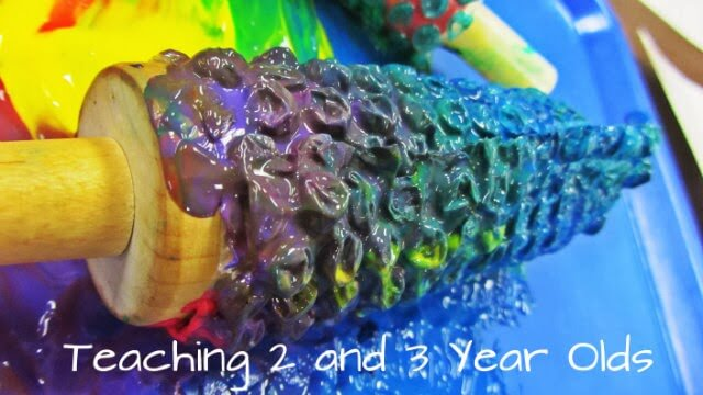 Painting with Rolling Pins | Teaching2and3yearolds.com