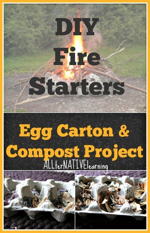 DIY fire starters using egg cartons