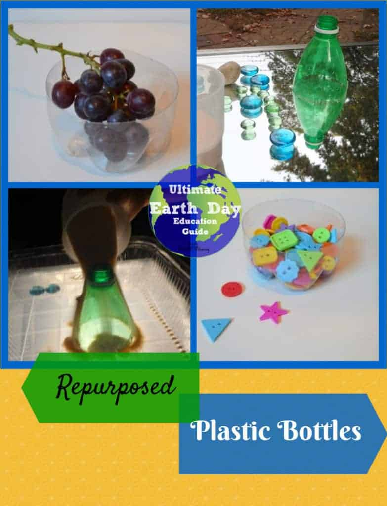 Repurposed crafts for Earth Day using plastic bottles