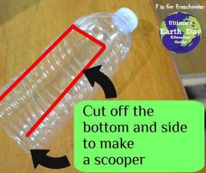 Make scoopers from old plastic bottles.