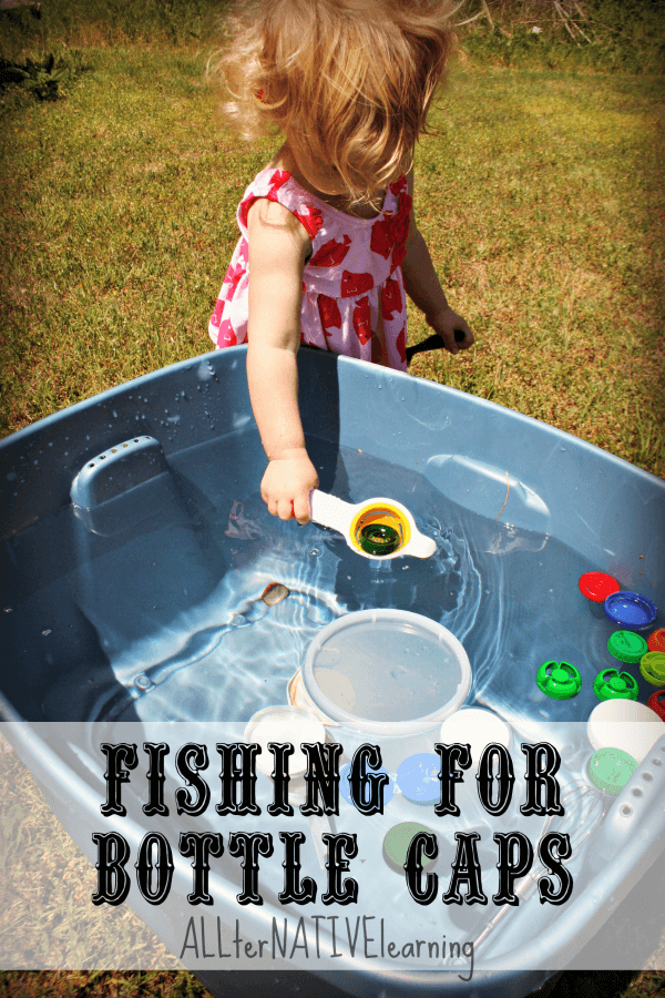 Fishing for bottle tops | Skimming the floating lids with an egg separator