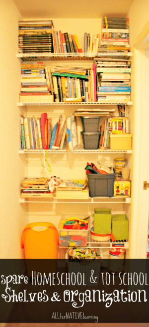 homeschool and tot school shelves