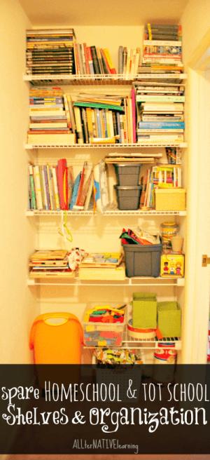 homeschool and tot school shelves