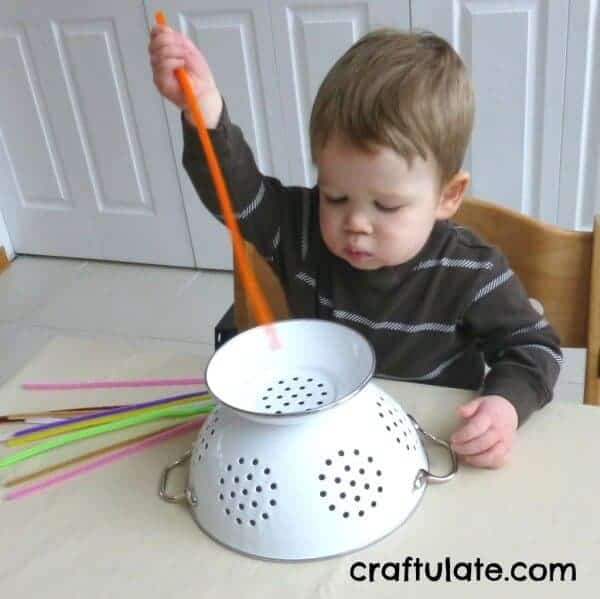 Colander Toddler Activity - Craftulate.com