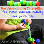 Use pouch caps to make a The Very Hungry Caterpillar extension activity for toddlers that shows the metamorphosis! | ALLterNATIVElearning