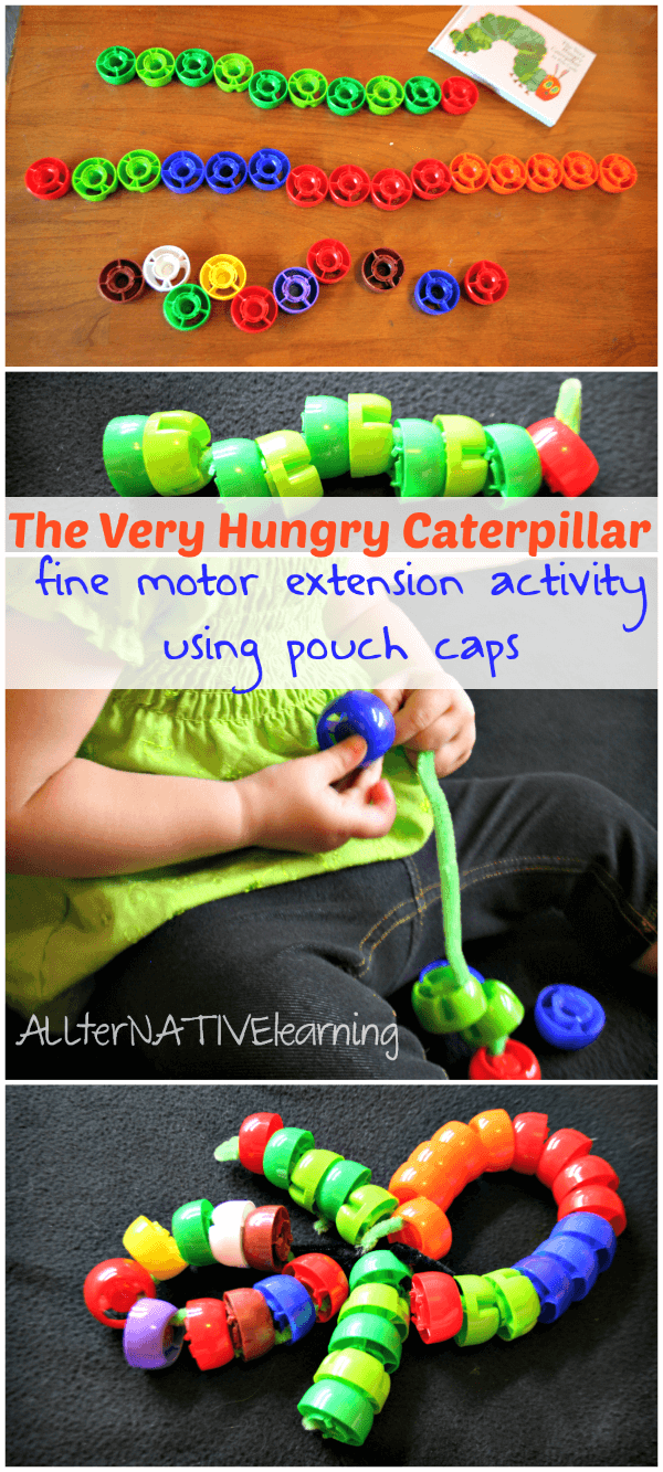 Use pouch caps to make a The Very Hungry Caterpillar activity for toddlers that shows the metamorphosis! | ALLterNATIVElearning