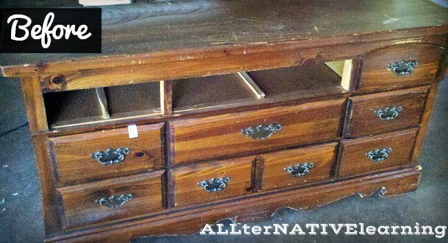 How to refinish a dresser and turn it into a changing table | ALLterNATIVElearning.com