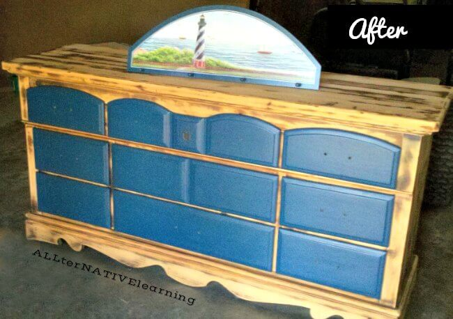 Finished product of refurbished and upcycled dresser