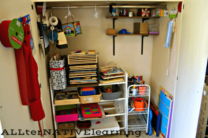 Storage closet for toys, puzzles, and art supplies | ALLterNATIVElearning