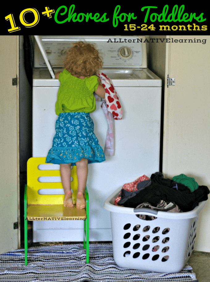 Practical Life Skills for Toddlers - Chore list including loading the washing machine for 15-24 month olds | ALLterNATIVElearning.com #shop #cbias