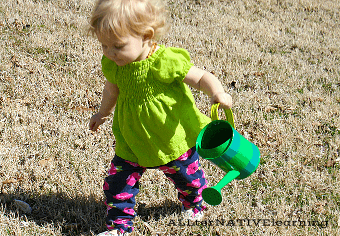 16 month old chores - help water plants | ALLterNATIVElearning