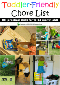 Toddler friendly chore list for 15 to 24 month olds | ALLterNATIVElearning.com #cbias #shop