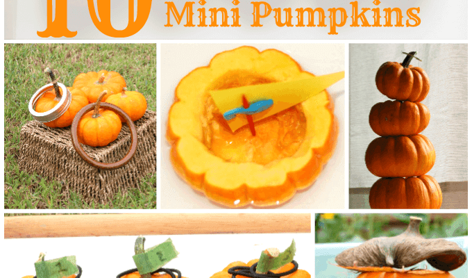 Ten ways to play with mini pumpkins in tot school and preschool to celebrate and learning about fall | ALLterNATIVElearning.com