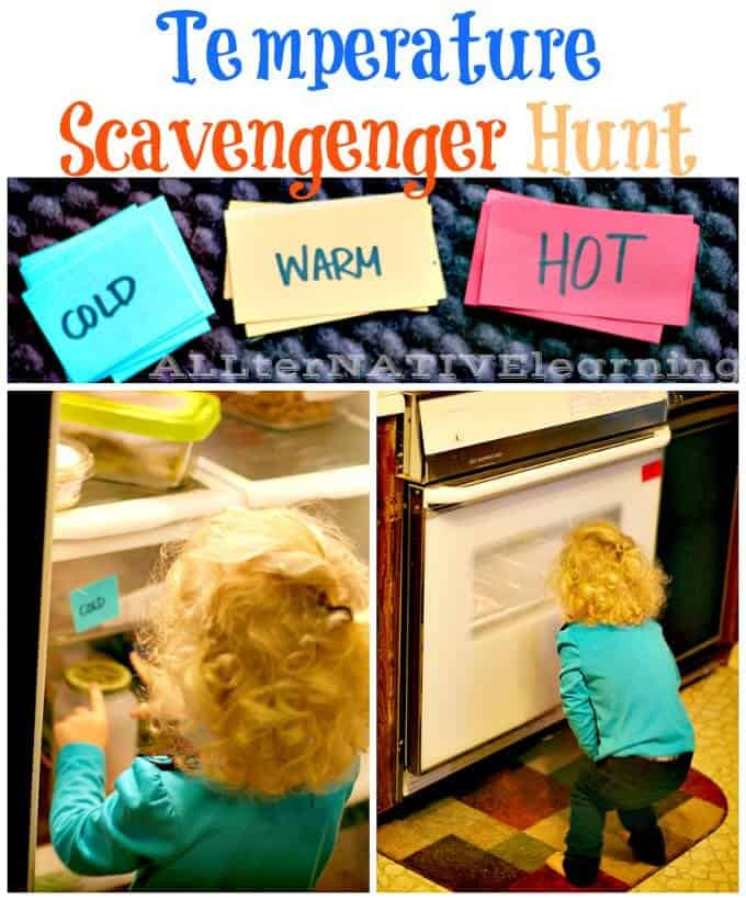 Exploring Hot, Cold, & Warm. A Temperature Scavenger Hunt for Toddlers | ALLterNATIVElearning.com