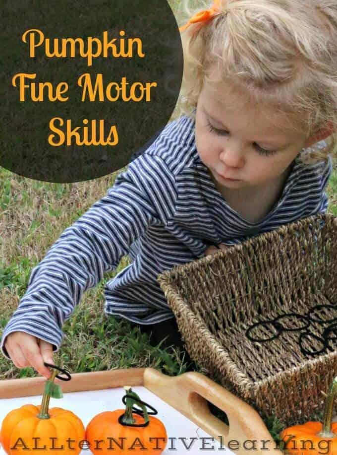 Threading Pumpkin Stems - Fine Motor Skills for the Fall | ALLterNATIVElearning.com