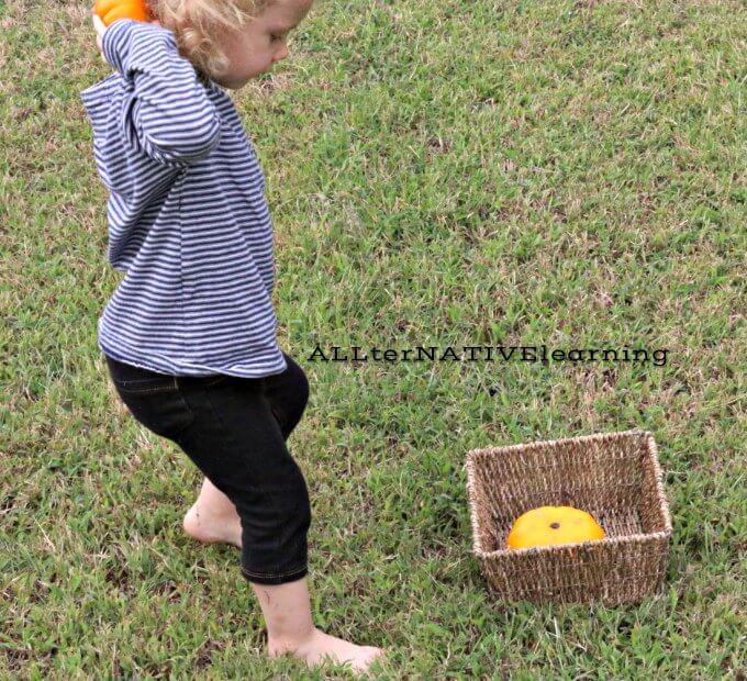 Pumpkin toss for gross motor skills and hand eye coordination | ALLterNATIVElearning