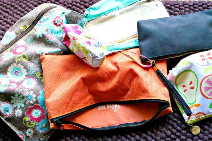 Repurposed make-up bags and other small bags for busy bags | ALLterNATIVElearning