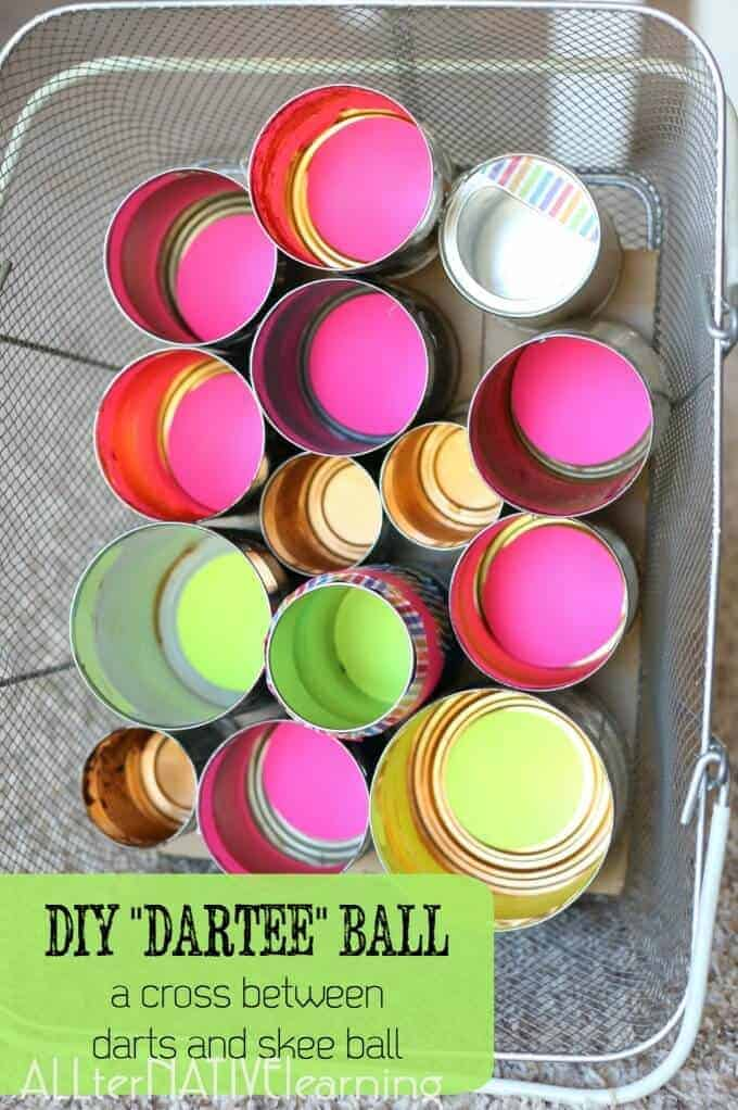How to use tin can to make a DIY skee ball and darts combination game. Great fall festival or carnival game for children and adults of all ages! | ALLterNATIVElearning