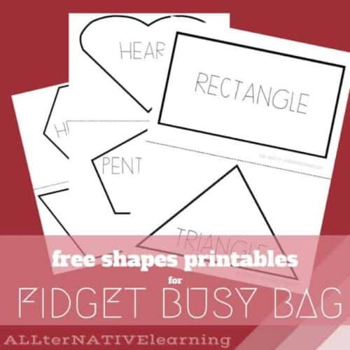 Free printable shapes to use in busy bags and with fidget bendable toy | ALLterNATIVElearning
