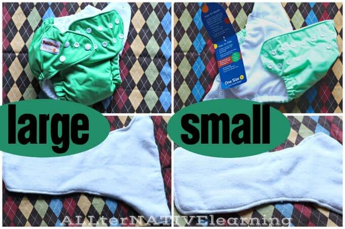 Size comparison of small and large FuzziBunz One-Size Diapers {Review} | ALLterNATIVElearning