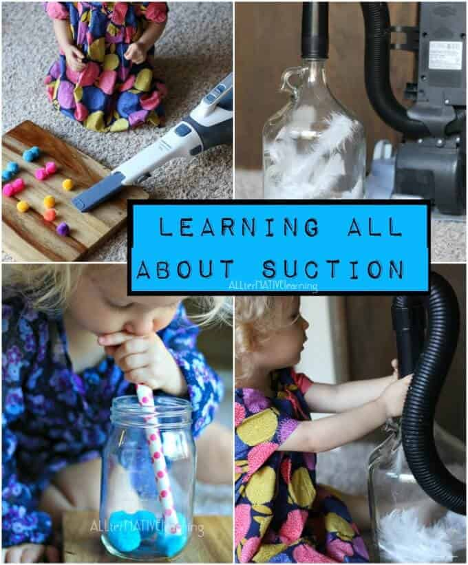 Teaching toddlers and preschools about suction in a fun and engaging unit theme. Check out the weekly theme and 7 ideas to teach what suction means | ALLterNATIVElearning