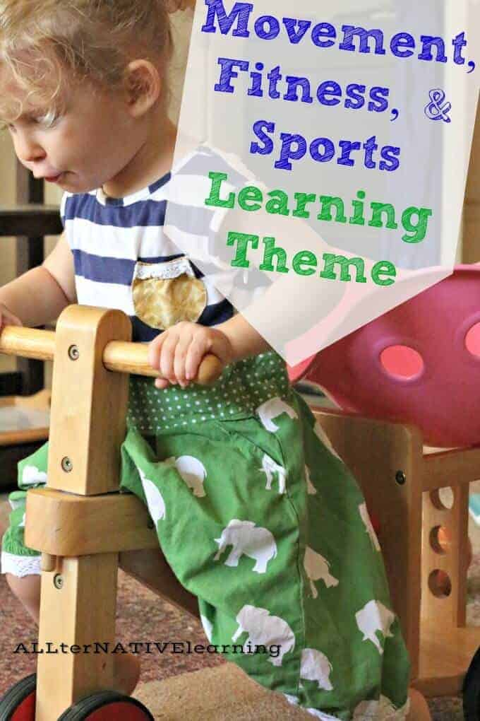 How to teach preschoolers and toddlers about sports, fitness, and movement. Get them moving with fun learning games in this week's tot school and preschool theme | ALLterNATIVElearning