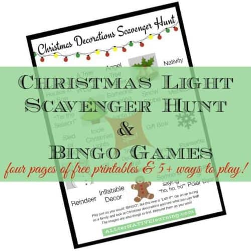 Christmas light and decorations scavenger hunt and family bingo free printable | ALLterNATIVElearning