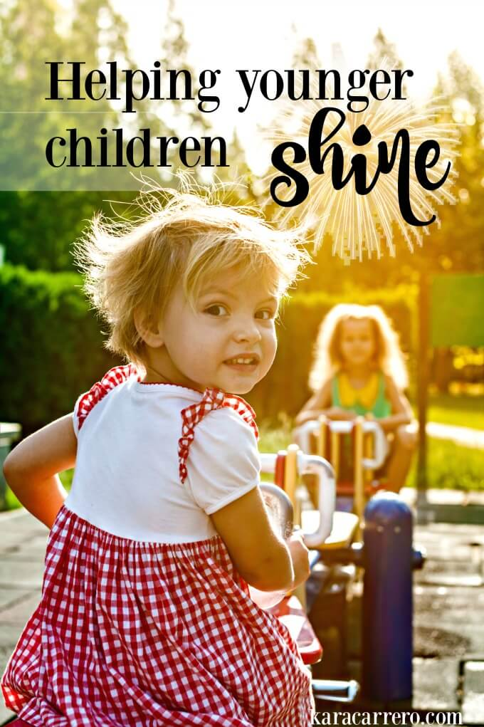 How to help younger children shine and not be stuck in the shadows of their older siblings. Actionable tips for parents of multiple kids and for big families.