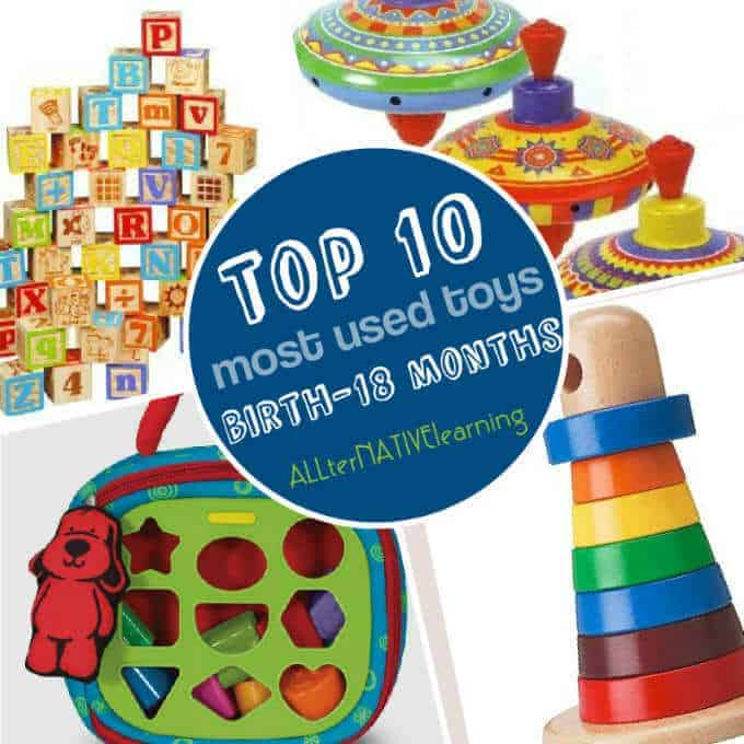 Top 10 most used toys list for babies and young toddlers ranging birth to 18 months old | ALLterNATIVElearning