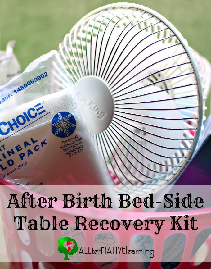 After Birth recovery kit for bed-side table