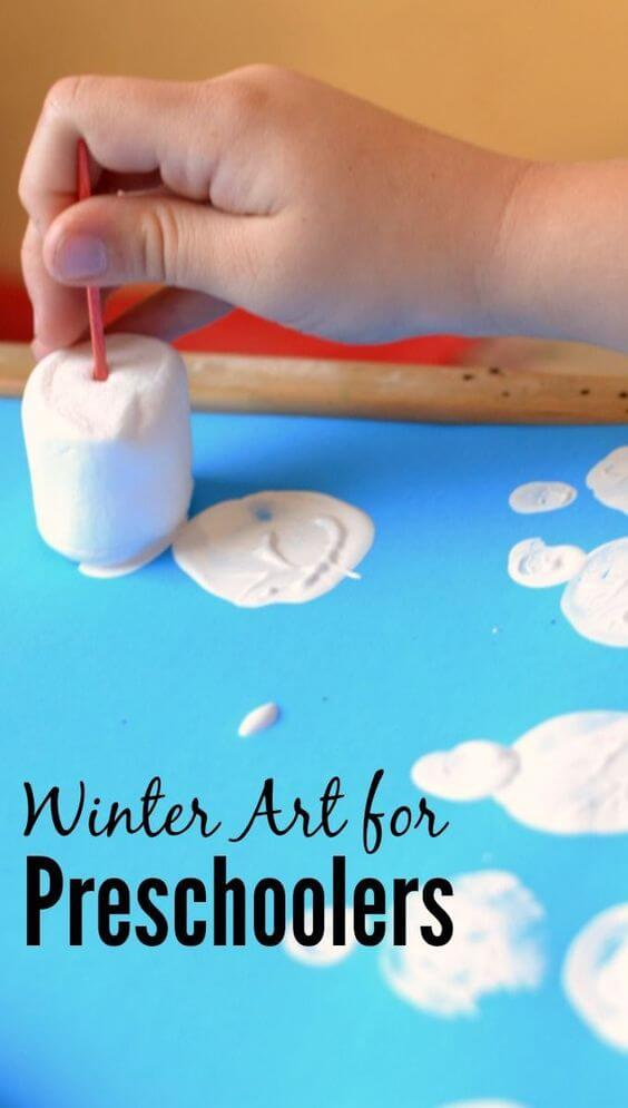 Preschool and toddler winter art project with marshmallows #kbnmoms #winter #art #kidsactvities
