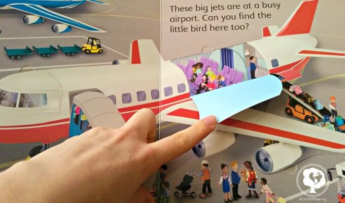 plane flap book lift and look