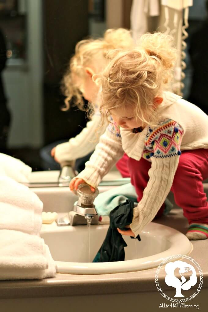 kids cleaning without chemicals