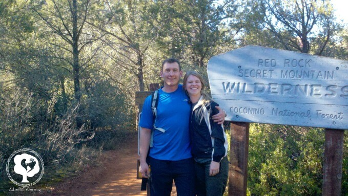 My husband & I hiking red rock secret mountain doe mountain arizona