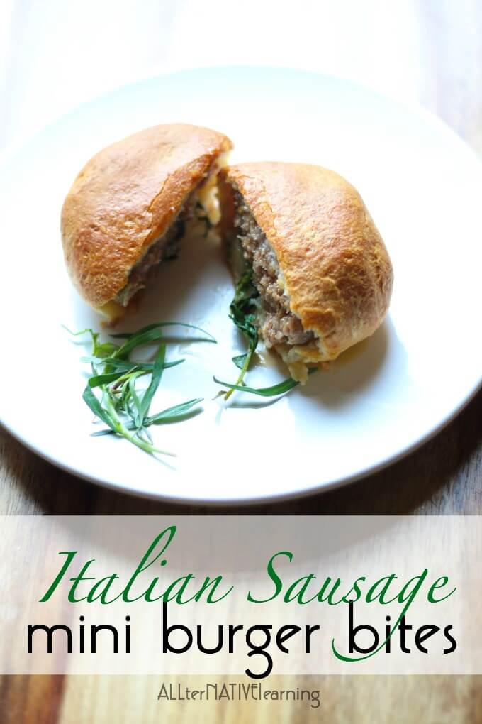 Easy Italian Sausage biscuit burgers that are great for kids and/or to use up leftovers from grilling out.