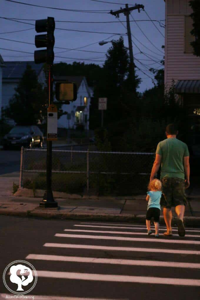 How to be safe walking at night with kids