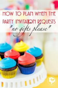 How to handle party invitations that request no gifts for their kids.
