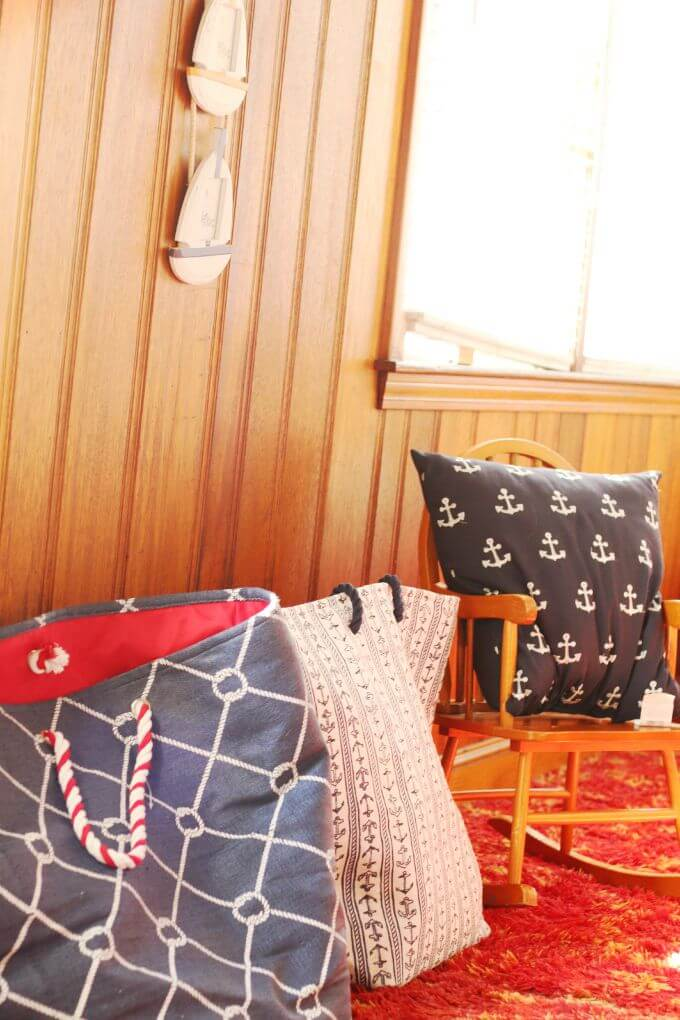 Design elements of nautical theme kids room - our enclosed porch playroom