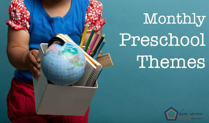 Monthly preschool themes to use at home or in a classroom. For toddlers and preschoolers.